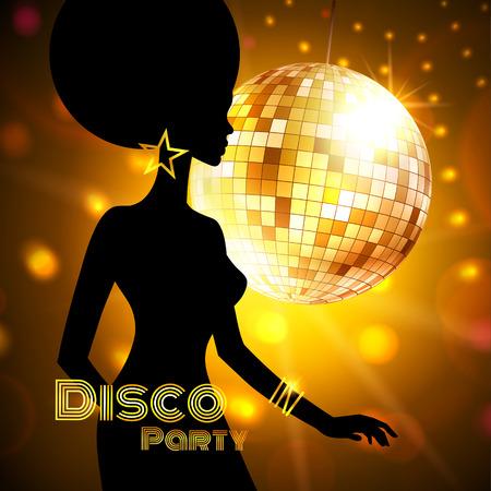 Disco Party uitnodiging sjabloon met silhouet van een meisje.