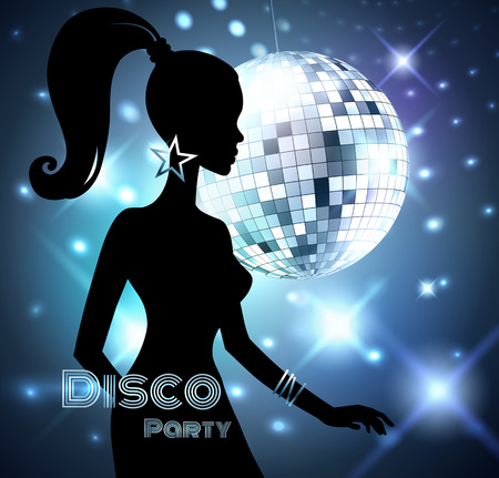 Disco Party invitation template with silhouette of a girl. Иллюстрация