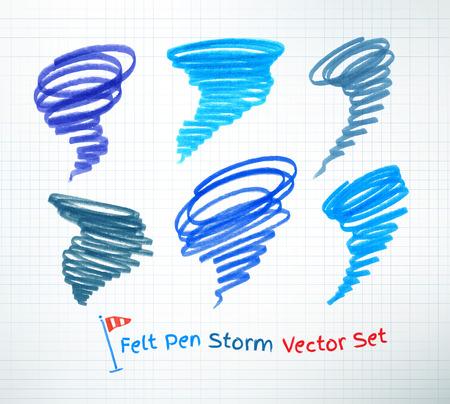whirlwind: Vector set of hand drawn hurricane symbols. Illustration