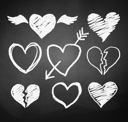 Vector collection of grunge chalked hearts.