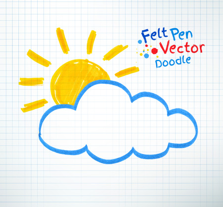 childlike: Vector illustration of sun and cloud. Felt pen childlike drawing on checkered notebook paper.
