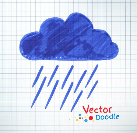 drench: Ilustración vectorial de una lluvia torrencial y en la nube. Pluma del fieltro dibujo infantil sobre el papel de cuaderno a cuadros.
