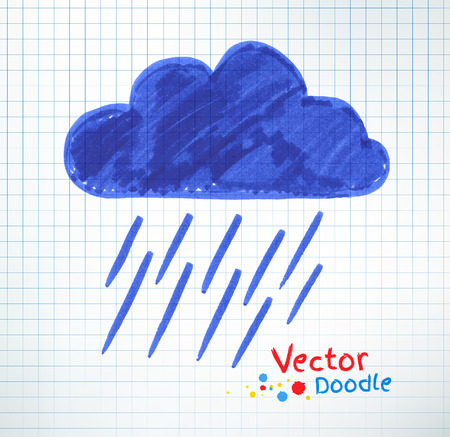 childlike: Vector illustration of pouring rain and cloud. Felt pen childlike drawing on checkered notebook paper. Illustration