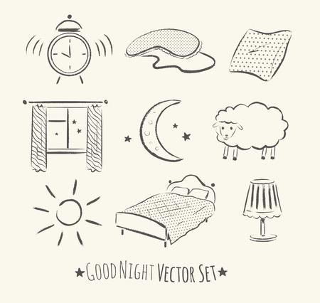 buonanotte: Buona notte insieme vettoriale abbozzato. Grunge Illustrazioni di mano disegnato.