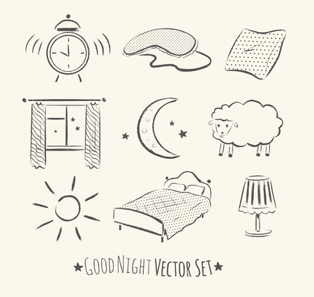 night time: Good night vector sketchy set. Grunge hand drawn illustrations.
