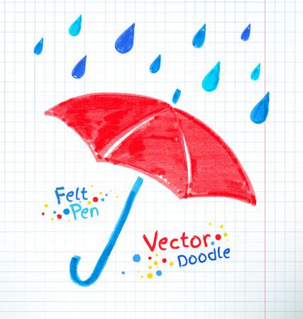 Ilustración del vector del paraguas y gotas de lluvia. Rotulador niño dibujando en papel a cuadros cuaderno.