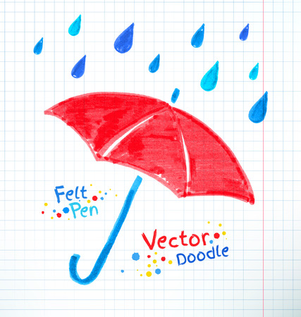drench: Vector illustration of umbrella and rain drops. Felt pen child drawing on notebook checkered paper. Illustration