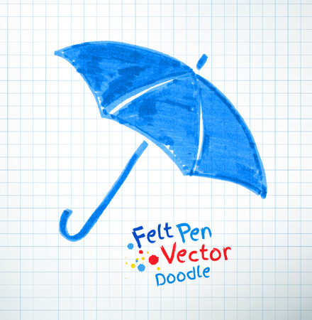 childlike: Vector illustration of umbrella. Felt pen childlike drawing on checkered notebook paper.