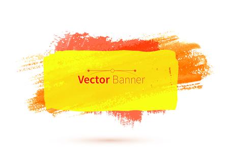 daubs: Yellow colorful vector watercolor banner.