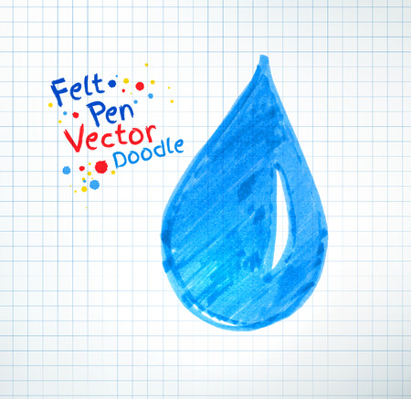 childlike: Vector illustration of water drop. Felt pen childlike drawing on checkered notebook paper. Illustration