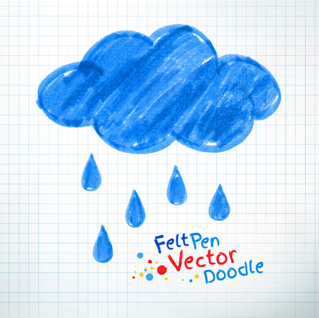 childlike: Vector illustration of rainy cloud. Felt pen childlike drawing on checkered notebook paper.