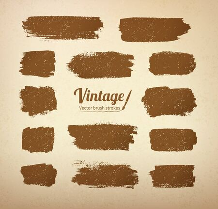 oldened: Collection of vector vintage brush strokes on grunge yellow paper texture.