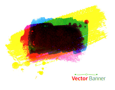 daubs: Colorful hand drawn watercolor vector banner.