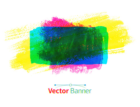 daubs: Multicolored watercolor vector banner with brush strokes.