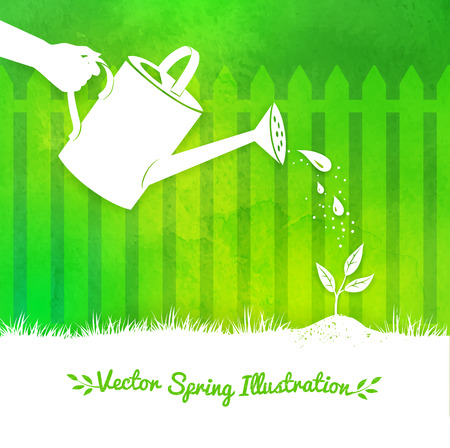 gardening tool: Gardening vector background with watering can and growing sprout.