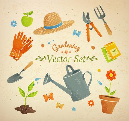 watering garden: Gardening equipment vector set on vintage background.