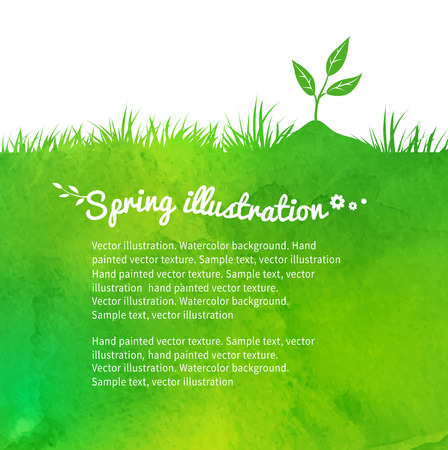 Watercolor vector background with growing sprout.