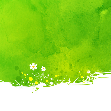 green meadow: Summer vector background with flowers and watercolor texture.