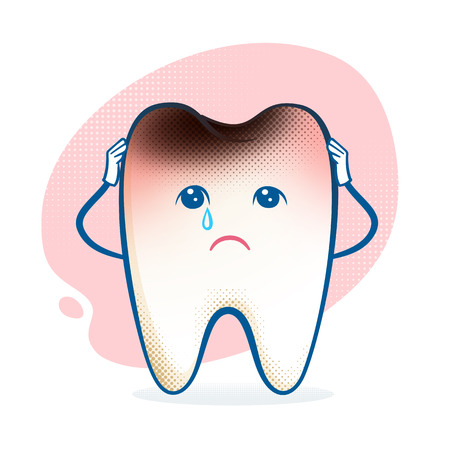 Vector illustration of sorrowful aching tooth character. Vector