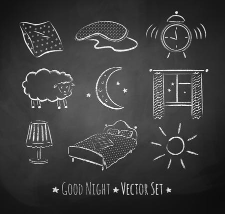 cama: Buenas noches vectorial conjunto incompleto. Ilustraciones Tiza en el fondo de la junta escolar.