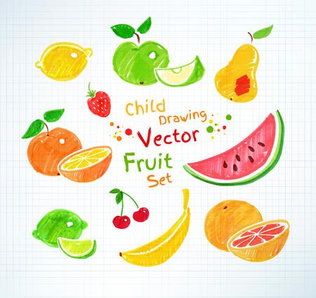 frutas: Rotulador dibujos infantiles de la fruta en papel a cuadros de la escuela. Vectores