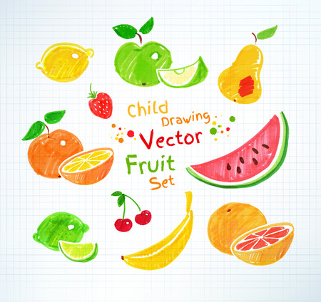 dessin: Stylo feutre dessins enfantins de fruits sur papier quadrillé scolaire. Illustration