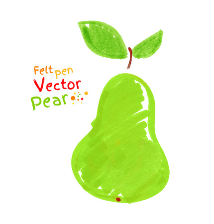 tip of the leaf: Felt pen drawing of pear.