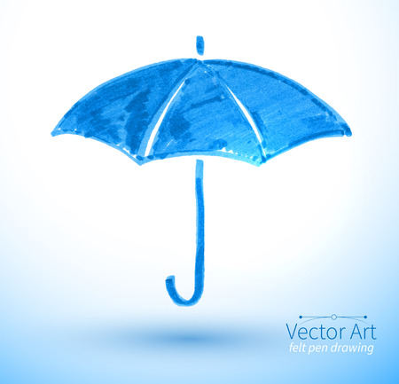 Vector illustration of umbrella. Felt pen childlike drawing. Çizim