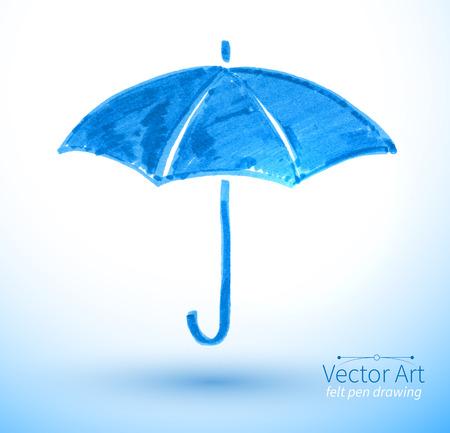 Vector illustration of umbrella. Felt pen childlike drawing. Illustration