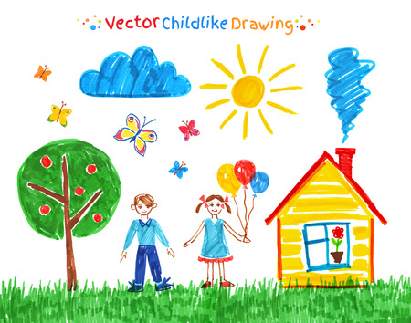 house drawing: Felt pen child drawings vector set. Illustration