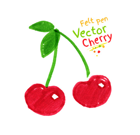 Vector felt pen childlike drawing of cherries.