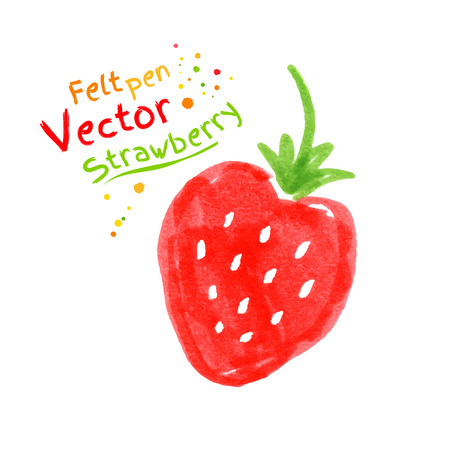 felt: Vector felt pen childlike drawing of strawberry.