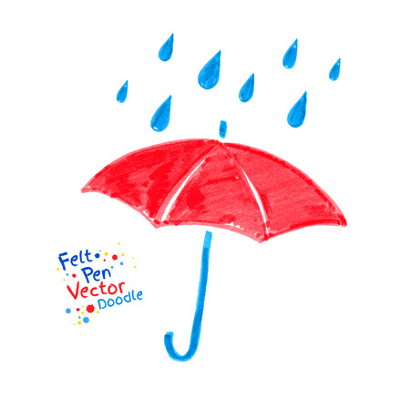 crayon: Vector felt pen child drawing of red umbrella and rain drops.