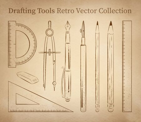 mm: Drafting tools hand drawn vector set on vintage old paper background.