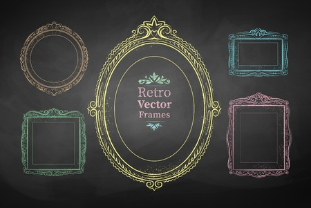 Chalk drawn vector collection of vintage baroque frames.