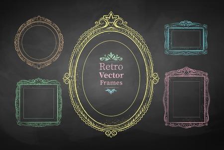 scarp: Chalk drawn vector collection of vintage baroque frames.