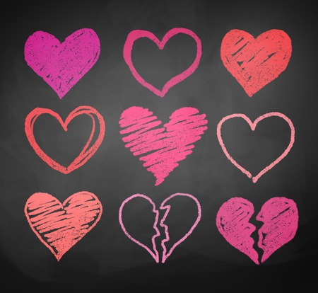 chalk drawing: Chalk drawn vector collection of hearts.