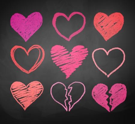 Krijt getekende vector collectie van harten. Stock Illustratie