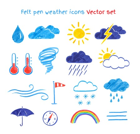 Vector collection of felt pen child drawings of weather symbols.