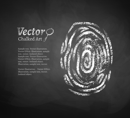 fingerprint: Vector chalkboard drawing of fingerprint.