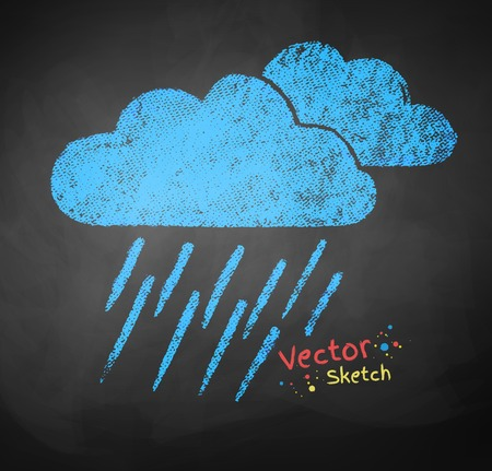 drench: Color chalked vector illustration of rainy clouds.