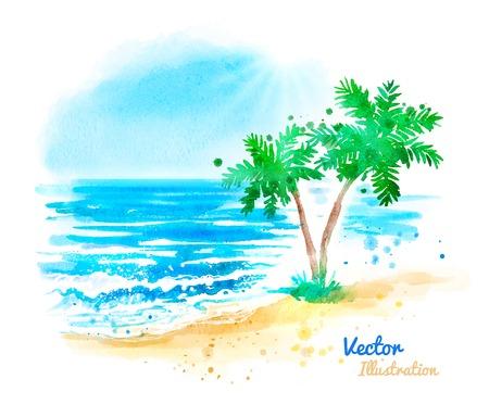 Watercolor vector hand drawn sea landscape.