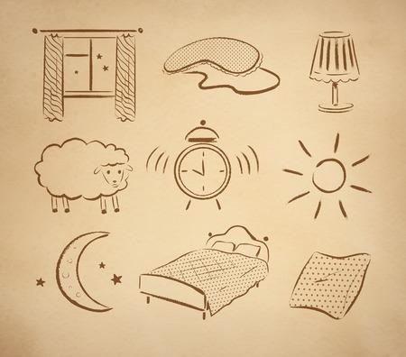 lijntekening: Bedtijd hand getekend vector set op vintage oud papier achtergrond.