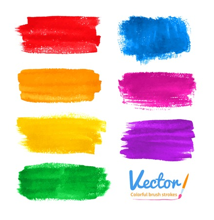 Vector set of hand drawn watercolor colorful brush strokes.