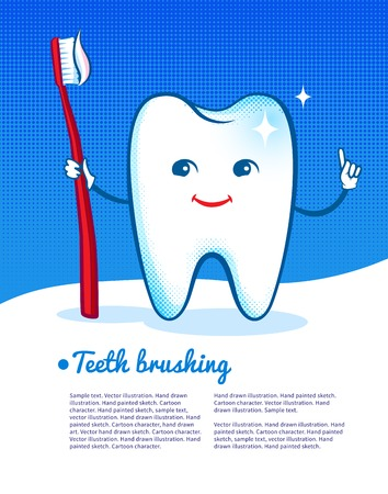 pediatrics: Vector illustration of happy and shiny cartoon tooth character with toothbrush. Illustration