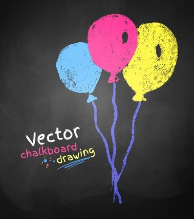globos de cumpleaños: Tiza dibujo de globos en pizarra de la escuela textura.