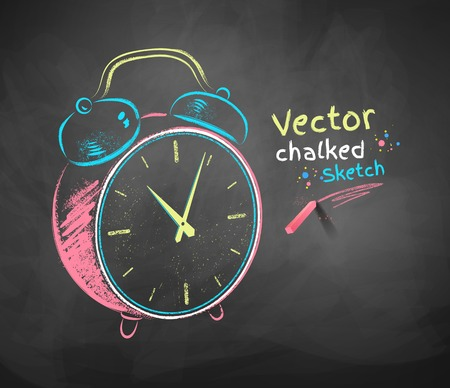 chalk drawing: Color vector chalkboard drawing of alarm clock.