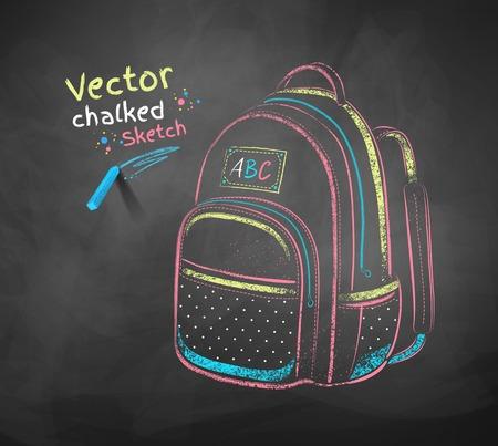 mochila escolar: Color Vector dibujo de tiza de la bolsa de la escuela.