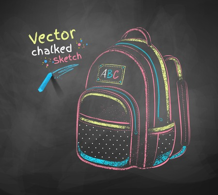 in the back: Vector color chalk drawing of school bag.