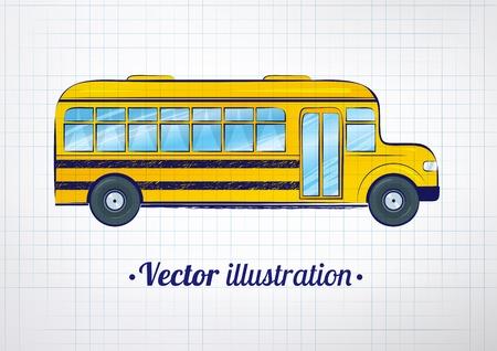 vector school: Vector illustration of school bus on checkered school notebook background.